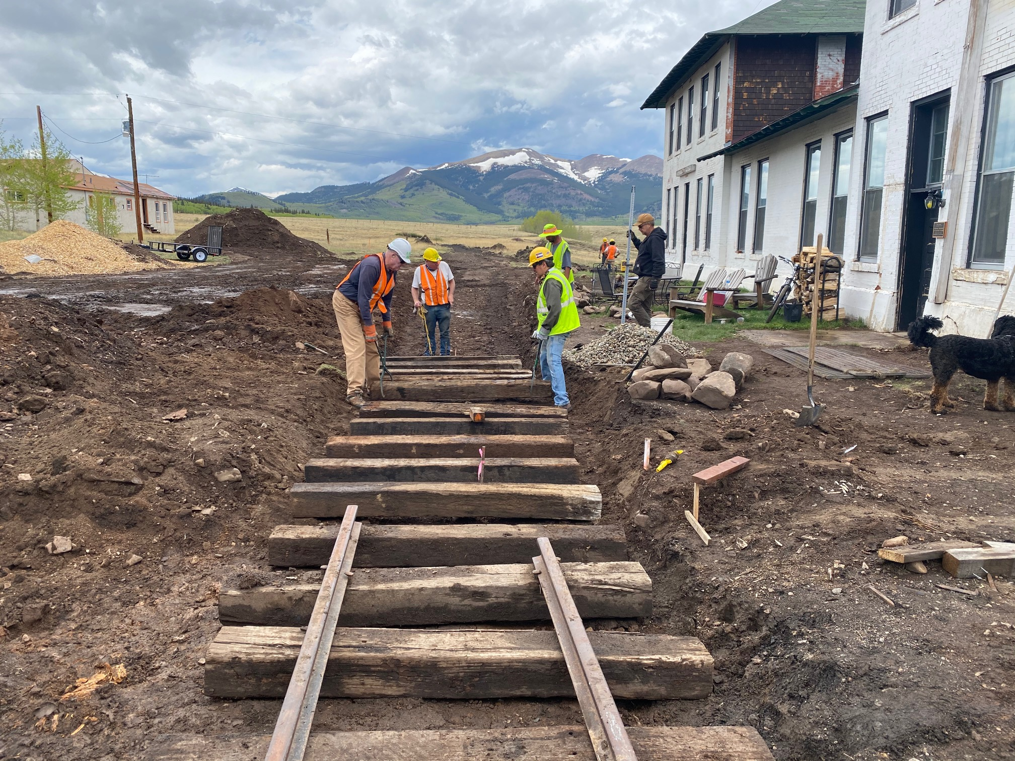 Track Laying in Front of the Hotel, June, Photo by Bob Schoppe