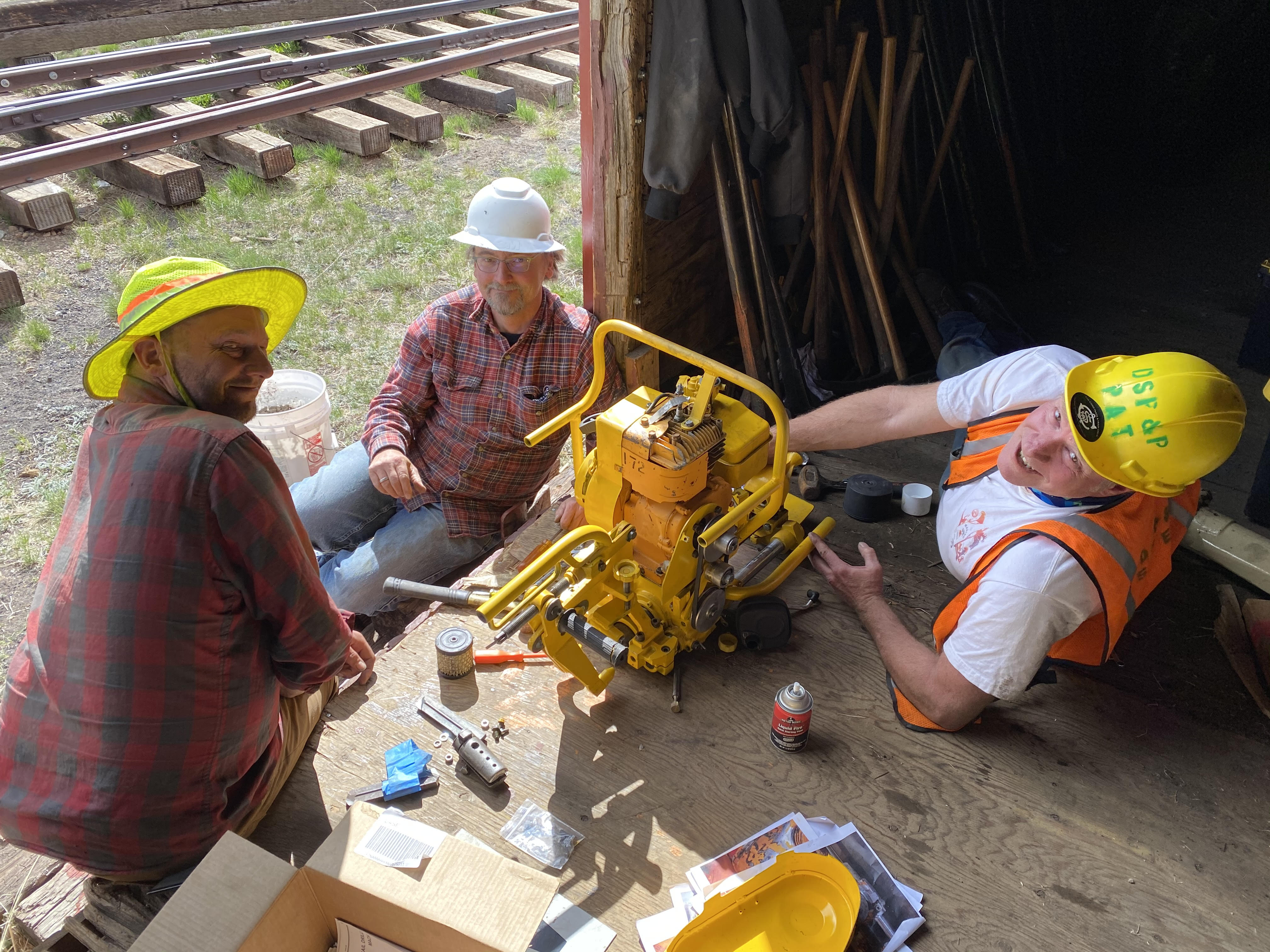 D&RG Rail Drill with Jeff, Alex And Pat, Photo by Bob Schoppe