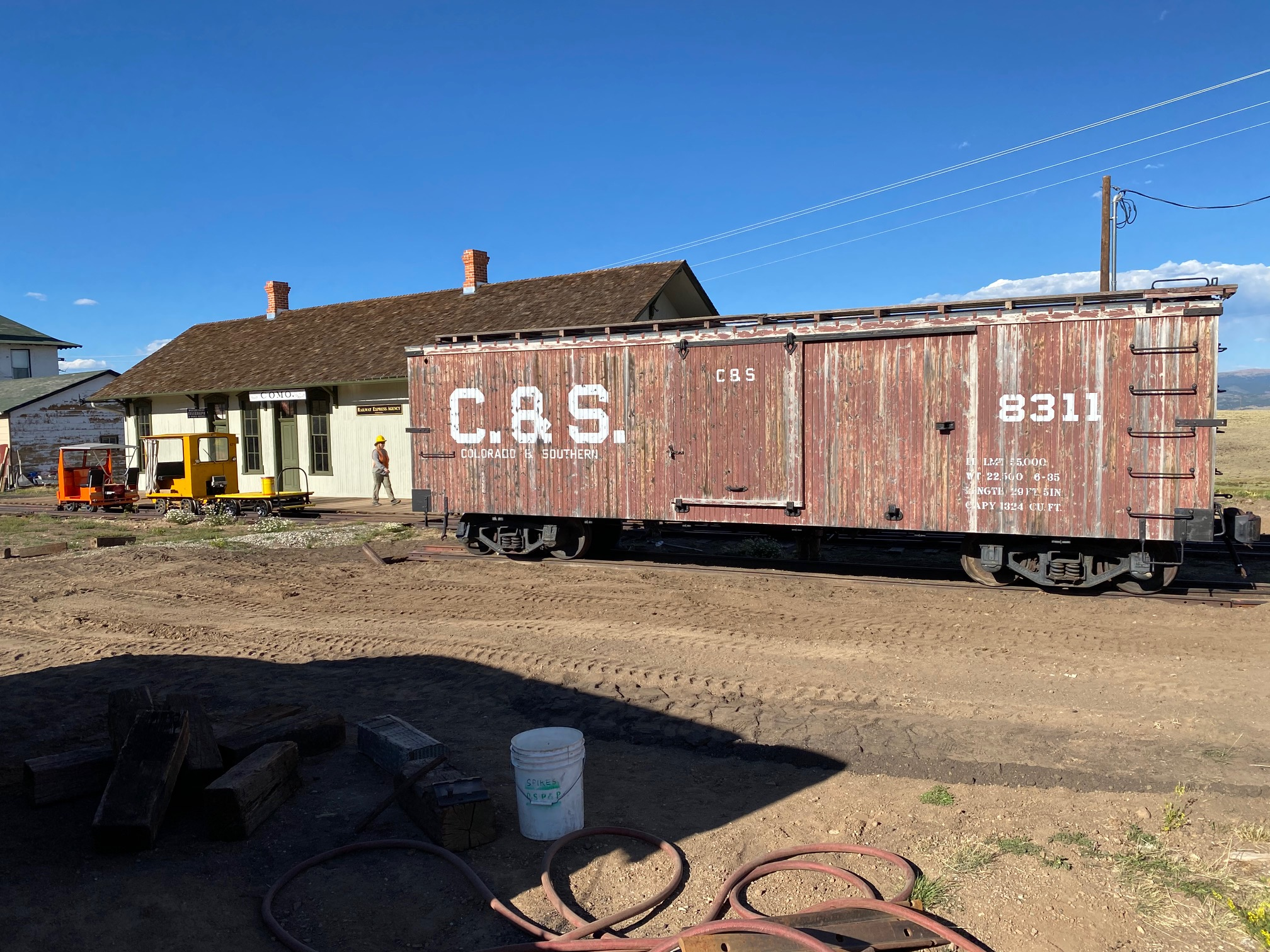 Boxcar 8311 On New Track By the Depot, Photo by Bob Schoppe
